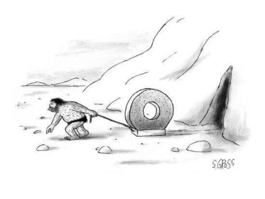 cartoon caveman pulling a wheel